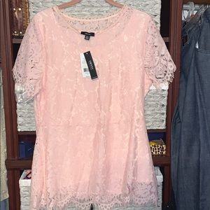 NEW pink lace short sleeve blouse INC